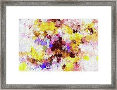 Framed Print featuring the painting Yellow And Pink Abstract Painting by Ayse Deniz