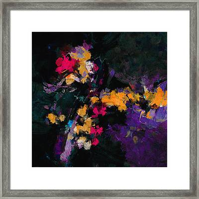 Framed Print featuring the painting Yellow And Purple Abstract / Modern Painting by Ayse Deniz