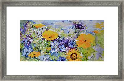Yellow And Purple Flowers Field Framed Print