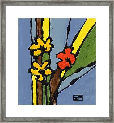 Yellow And  Red Flower Framed Print by Helen Pisarek