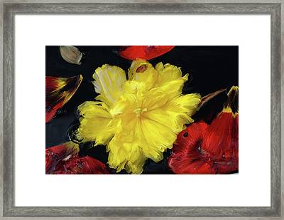 Yellow And Red Flower Painting  Framed Print by Don  Wright