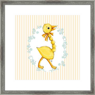 Yellow Baby Duck Framed Print by Cindy Garber Iverson