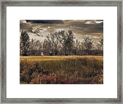 Yellow Barn And The Field Framed Print