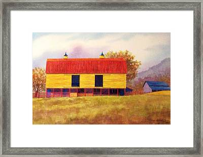 Yellow Barn Framed Print by Hugh Harris