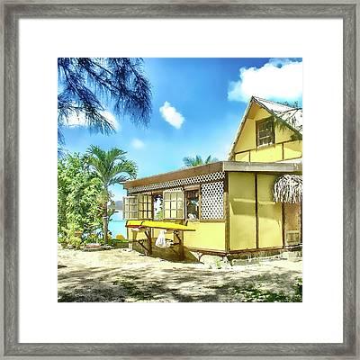 Framed Print featuring the photograph Yellow Beach Bungalow Bora Bora by Julie Palencia