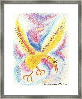 Yellow Bird Framed Print by Suzanne  Marie Leclair