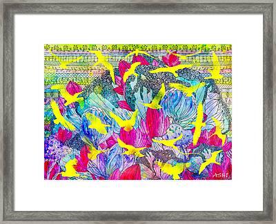 Yellow Birds Framed Print by Anastasia Shikina