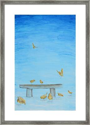 Framed Print featuring the painting Yellow Birds In The Blue1 by Nik Helbig