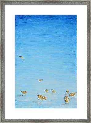 Framed Print featuring the painting Yellow Birds In The Blue2 by Nik Helbig