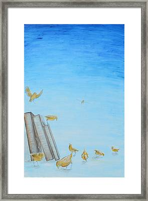 Framed Print featuring the painting Yellow Birds In The Blue3 by Nik Helbig