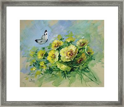 Yellow Blossoms And Butterfly Framed Print by David Jansen