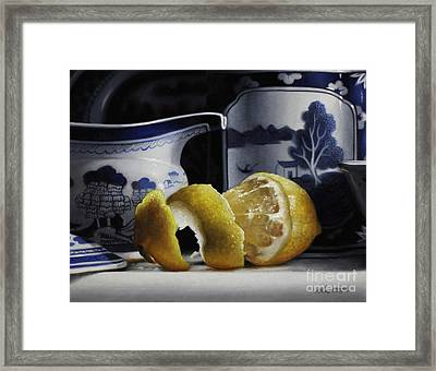 Yellow Blue And White Framed Print by Larry Preston