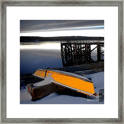 Yellow Boat In Winter  Framed Print by Olivier Le Queinec