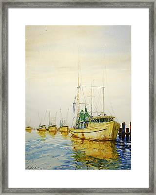 Yellow Boats Framed Print by Shirley Sykes Bracken