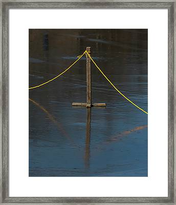 Framed Print featuring the photograph Yellow Boundary On Ice by Gary Slawsky