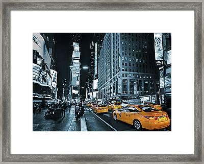 Yellow Broadway At Night - Nyc Framed Print