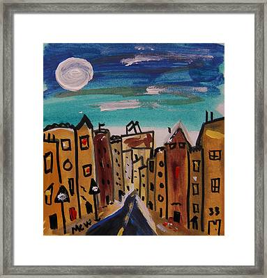 Yellow Buildings Framed Print by Mary Carol Williams