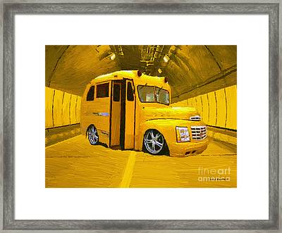 Yellow Bus Framed Print by Jerry L Barrett