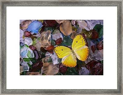 Yellow Butterfly On Sea Glass Framed Print