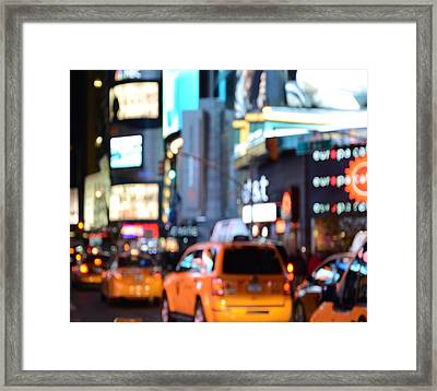 Yellow Cabs At Time Square In New York Framed Print