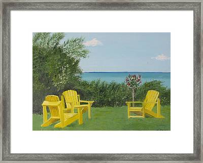 Yellow Chairs At Blue Mountain Beach Framed Print by John Terry