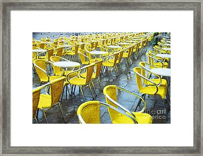 Yellow Chairs In Venice Framed Print by Mel Steinhauer