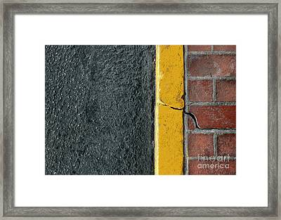 Yellow Curb Framed Print by Dan Holm