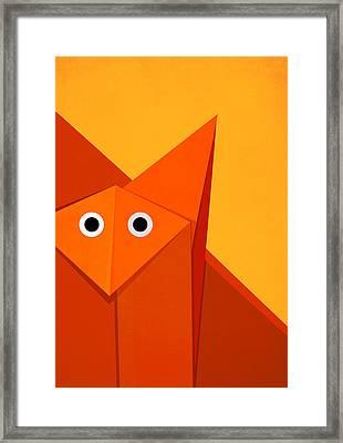 Yellow Cute Origami Fox Framed Print
