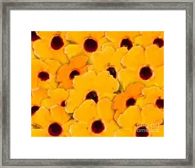 Framed Print featuring the digital art Yellow Daisy Flowers by Smilin Eyes  Treasures