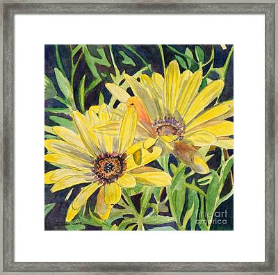 Framed Print featuring the painting Yellow Daisy by LeAnne Sowa