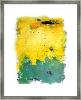 Yellow Dash Green Framed Print