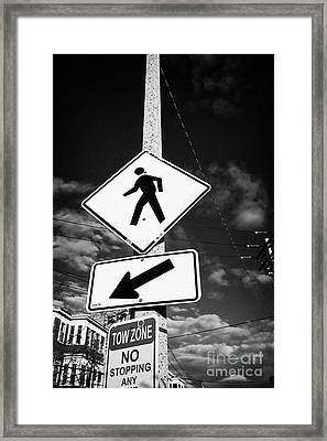 yellow diamond pedestrian crossing crosswalk sign dorchester Boston USA Framed Print