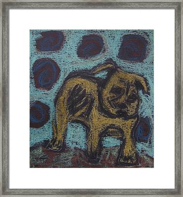 Framed Print featuring the painting Yellow Dog by Patricia Januszkiewicz