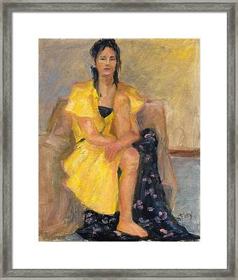 Yellow Dress Framed Print by Rita Bentley