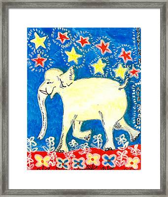 Yellow Elephant Facing Left Framed Print by Sushila Burgess