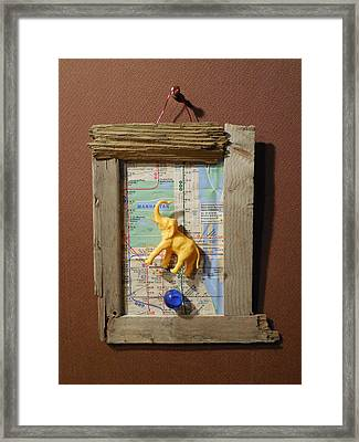 Yellow Elephant Hovering Over Blue Marble Framed Print