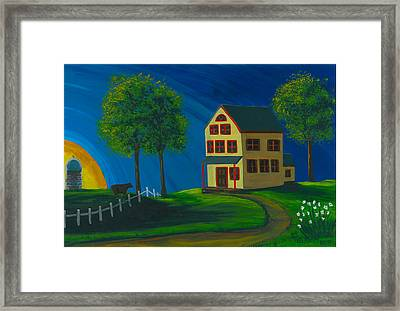 Framed Print featuring the painting Yellow Farm House by Gail Finn