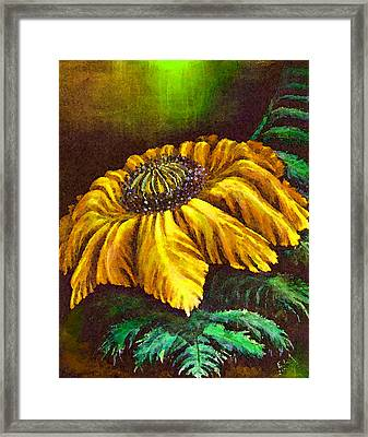 Yellow Fern Flower Legendary Framed Print by Art by Ela