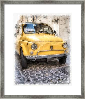 Yellow Fiat 500 Watercolor Framed Print