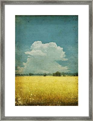 Yellow Field On Old Grunge Paper Framed Print by Setsiri Silapasuwanchai