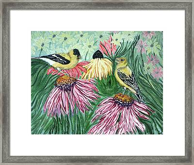 Yellow Finches Framed Print by Ann Ingham