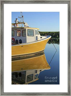 Yellow Fishing Boat Early Morning Framed Print by Edward Fielding