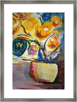 Yellow Floral Framed Print by Neva Rossi