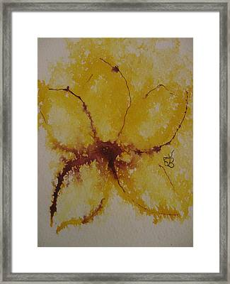 Framed Print featuring the drawing Yellow Flower by AJ Brown