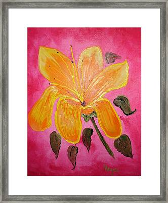 Yellow Flower Framed Print by Barbara Hayes
