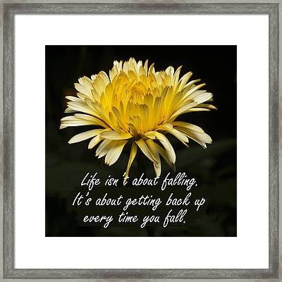 Yellow Flower With Inspirational Text Framed Print