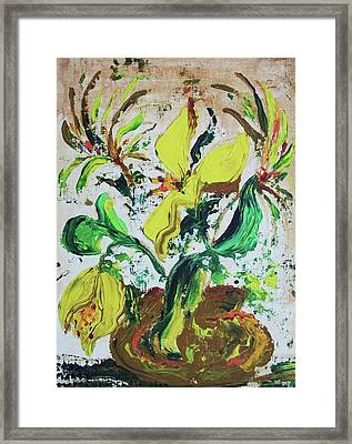 Yellow Flowers And Brown Pot Framed Print by Suzanne  Marie Leclair