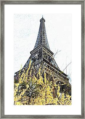 Yellow Flowers Blooming Beneath The Eiffel Tower Springtime Paris France Colored Pencil Digital Art Framed Print by Shawn O'Brien