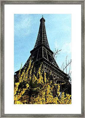 Yellow Flowers Blooming Beneath The Eiffel Tower Springtime Paris France Fresco Digital Art Framed Print by Shawn O'Brien