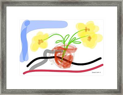 Yellow Flowers In Red Cup Framed Print by Georgia Griffin
